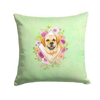 Golden Retriever Green Flowers Fabric Decorative Pillow