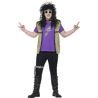 Curves 80's Rock Star Costume, with Waistcoat, XXL