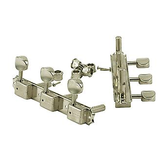 Kluson 3 On A Plate Tuners Nickel - Oval Metal Button - Slot Headstock Single Line Kluson Stamp