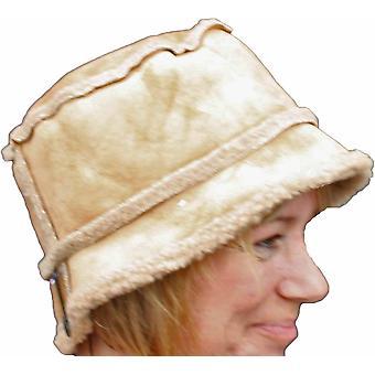 Dames Suede effect tub Hat fleece bekleed een warme winter mode hoed