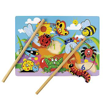 Tidlo Wooden Educational Magnetic Fun Bugs with Rods Learn Play Puzzle