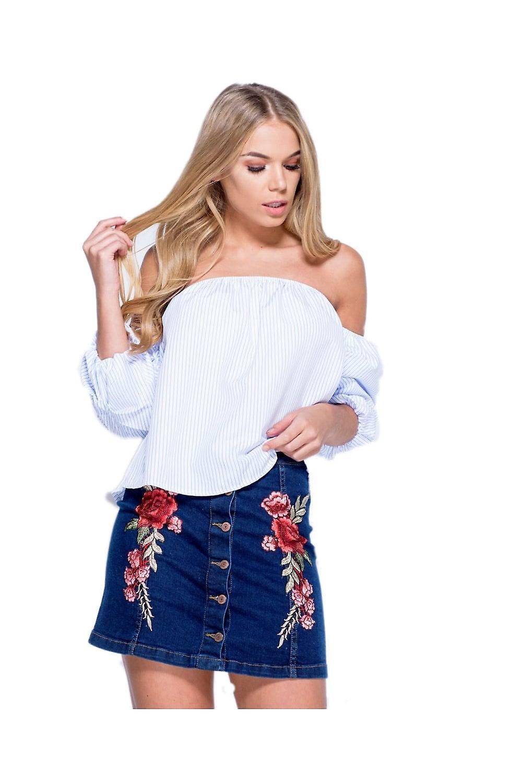P UK Floral Embroidered Denim Miniskirt