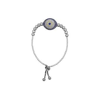 925 Sterling Silver Rhodium Plated Adjustable Cubic Zirconia Evil Eye Bracelet 9.50 Inch Jewelry Gifts for Women
