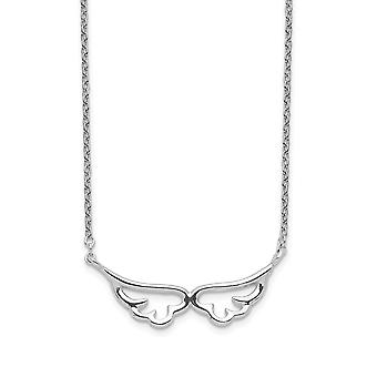 925 Sterling Silver Angel Wings Necklace 16.5 Inch Jewelry Gifts for Women - 1.3 Grams
