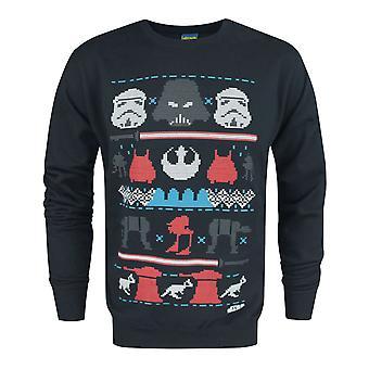 Star Wars Dark Side Fair Isle Men's Langarm Marine Weihnachten Pullover