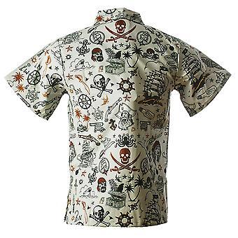 Funny Guy Mugs Mens Pirate Hawaiian Print Button Down Short Sleeve Shirt, Small
