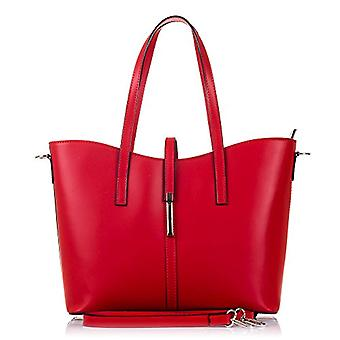 FIRENZE ARTEGIANI. Women's bag in real TOTE leather. Ruga luxury leather shoulder bag. Exclusive design. MADE IN ITALY. REAL ITALIAN SKIN. 35 x 28 x 15 cm. color: red