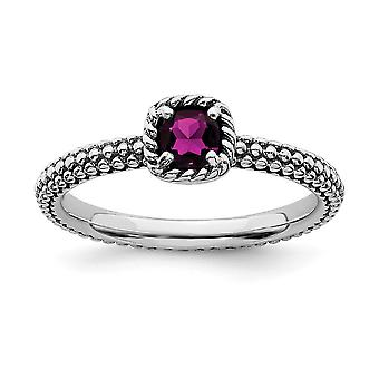 2.5mm 925 Sterling Silver Prong set finish Stackable Expressions Checker cut Rhodolite Garnet 10 Inch Jewelry Gifts for
