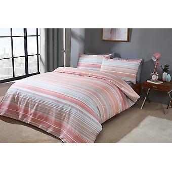 Ombre Stripe Peach Bedding Set
