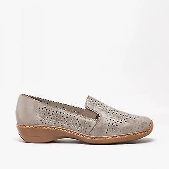 Rieker 413q5-62 Ladies slip på sko Pebble