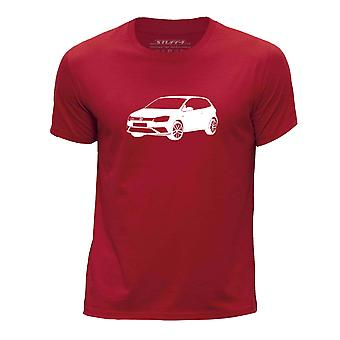 STUFF4 Boy's Round Neck T-Shirt/Stencil Car Art / 16 Polo GTI/Red