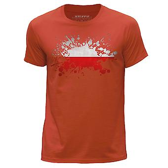 STUFF4 Men's Round Neck T-Shirt/Poland/Polish Flag Splat/Orange