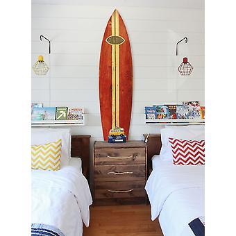 Vintage Look Red Surfboard Wall Art