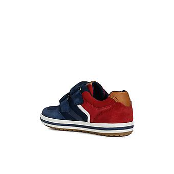 Geox j vita navy and red mesh and suede trainers