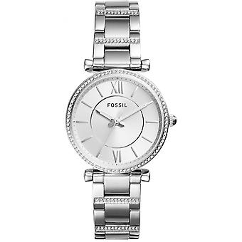 Fossiele horloge ES4341-vrouwen zilveren stalen Sertie horloge