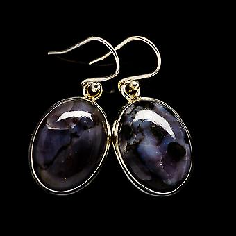 "Gabbro Stone Earrings 1 3/8""  - Handmade Boho Vintage Jewelry EARR399119"