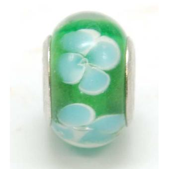 TOC BEADZ Green With Blue Flowers 9mm Glass Bead