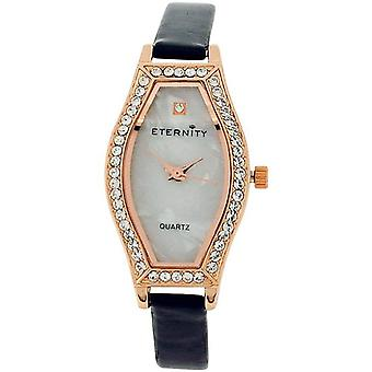 Eternity Ladies Watch fait avec Swarovski Crystals MOP Dial Black PU Strap ET70B