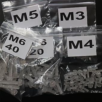 100x Transparent Thumbscrews, slidset + knurled M3, M4, M5, M6, M6