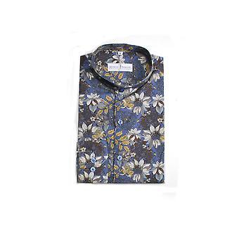 Jenson Samuel Navy & Green Collarless Regular Fit Shirt