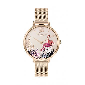 Sara Miller SA4054 Women's Rose Gold Tone Mesh Strap Flamingo Wristwatch