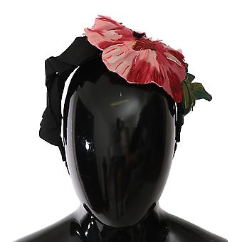 Czerwona róża jedwab czarny łuk kwiatowy pałąk -- SMYK203568