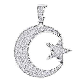 925 Sterling Silver CZ Cubic Zirconia Simulated Diamond Star Celestial Moon Mens Religious Pendant Necklace Charm Jewelr