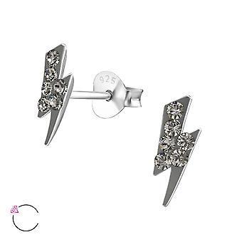 Tunderbolt - 925 Sterling Silver Crystal Ear Studs - W32791x