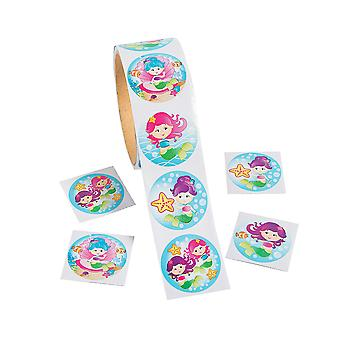 Roll of 100 Mermaid Stickers for Kids Crafts
