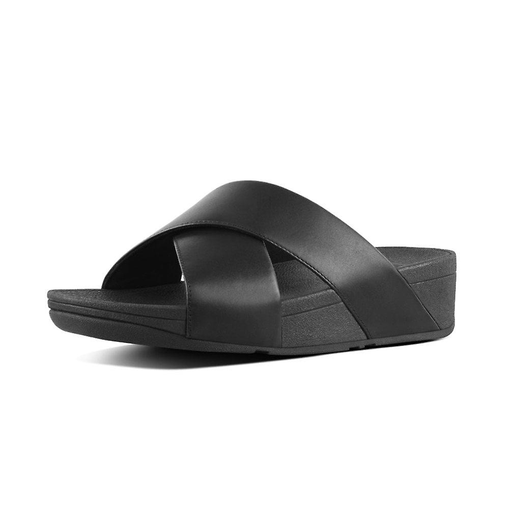 FitFlop Lulu™ Leather Cross Slides In Black l283n