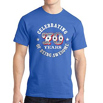 Celebrating 70 Years Of Being Awesome Graphic Men's Royal Blue T-shirt