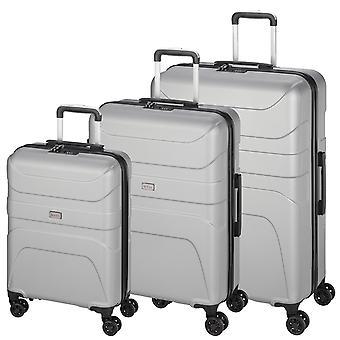 d&n Línea de viaje 2100 Suitcase Set 3 piezas 4 ruedas S-M-L, plata