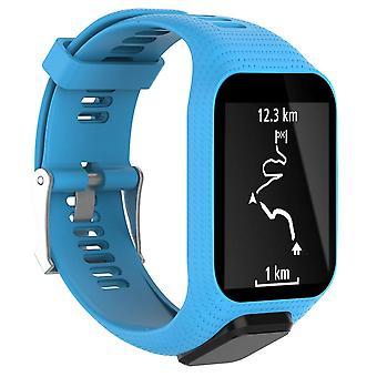 para TomTom Runner 3 reemplazo pulsera pulsera correa correa metal hebilla GPS reloj [azul claro]