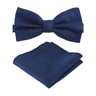Ragazzi Mens Tweed Check Dickie Bow Tie in Navy Blue