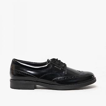 GEOX Agata D Girls Leather School Shoes Patent Black