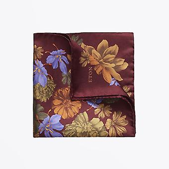 Eton  - Floral Pocket Square - Burgundy/Multi