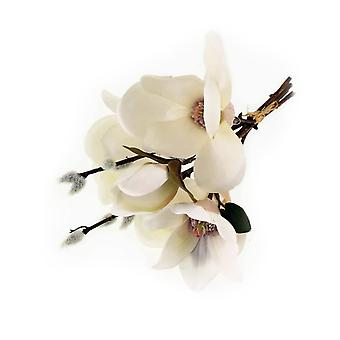 30cm Cream Magnolia & Pussy Willow Short Artificial Fabric Flower Bunch