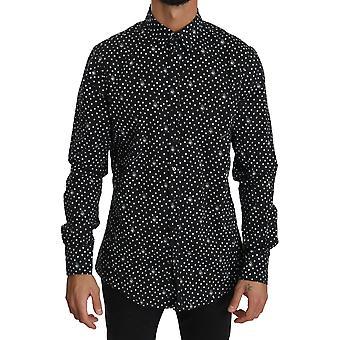 Dolce & Gabbana Black Heart Dot SICILIA Formal Dress Shirt