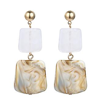 Gold Acrylic Resin Square Disc Drop Earrings