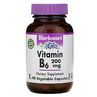 Bluebonnet Nutrition, Vitamine B-6, 200 mg, 90 Capsules végétales
