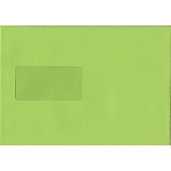 Lime grøn skræl/segl C5/A5 farvet grøn konvolutter. 120gsm luksus FSC-certificeret papir. 162 mm x 229 mm. tegnebog stil kuvert.