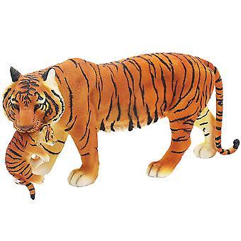 Ruskea pysyvä tiikeri ja cub hartsi koriste ornamentti