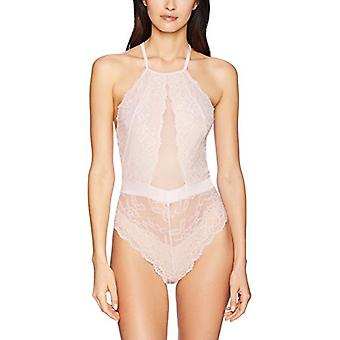 Brand - Mae Women's Strappy Halter Lace Bodysuit, Soft Pink, X-Large
