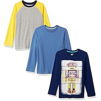 Brand - Spotted Zebra Big Boys' 3-Pack Long-Sleeve T-Shirts, Robots, L...