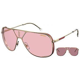 Sunglasses Unisex Lens3s gold with pink glasses