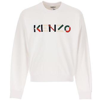 Kenzo | 5sw004 4mo flerfarget logo crew svette topp - hvit