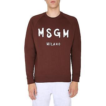 Msgm 2940mm10420759930 Men's Brown Cotton Sweatshirt