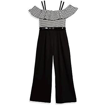 Amy Byer Girls' Off The Shoulder Ruffle Neck Jumpsuit