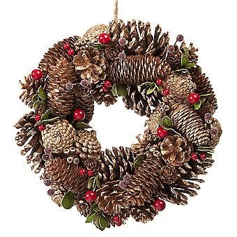 30cm Gold Pinecone Wreath in a box Christmas Home Decoration