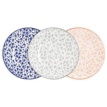Nicola Spring 6 Piece Daisy Patterned Side Plate Set - Small Porcelain Dining Plates - 3 Colours - 19cm